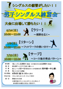 男子シングルス練習会【サーブ】 @ 柳生園テニスクラブ【本校】