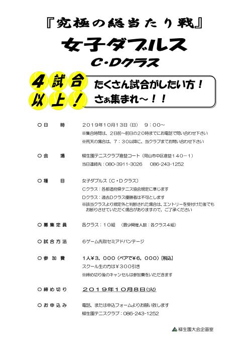 『究極の総当たり戦』女子ダブルス〈C・D〉 @ 柳生園テニスクラブ【倉益校】