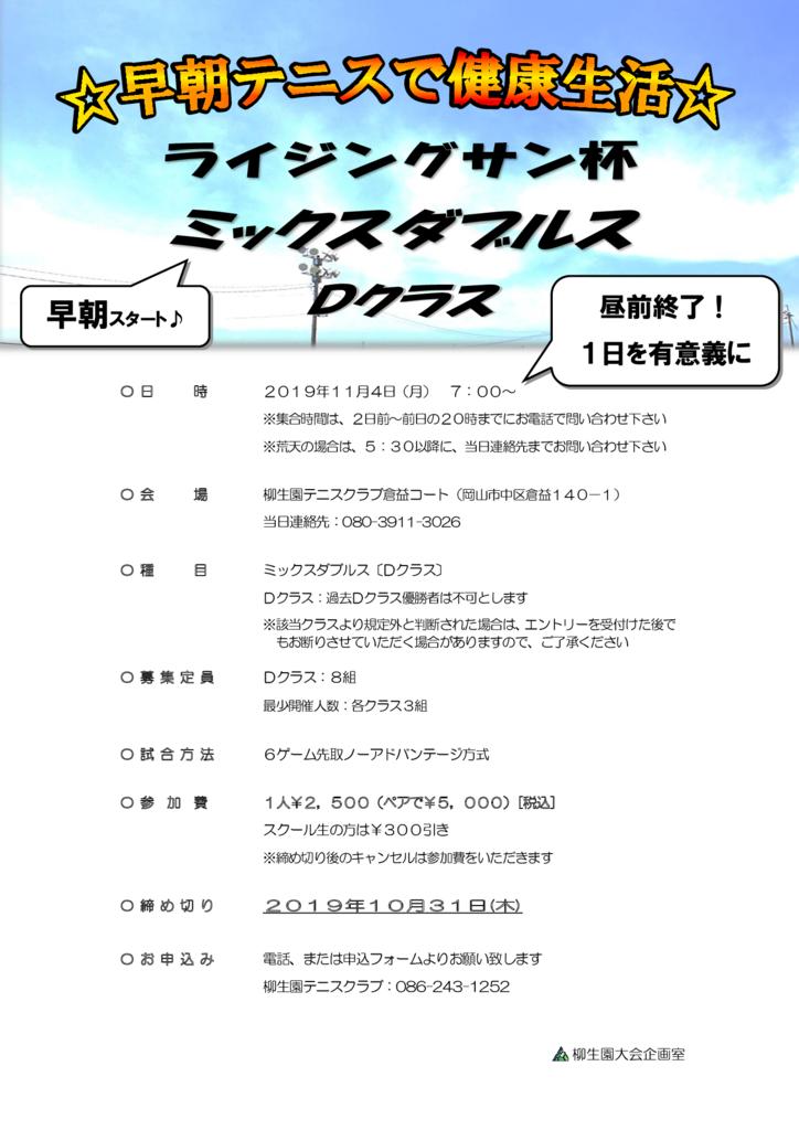 ライジングサン杯 ミックスダブルス〈D〉 @ 柳生園テニスクラブ【倉益校】