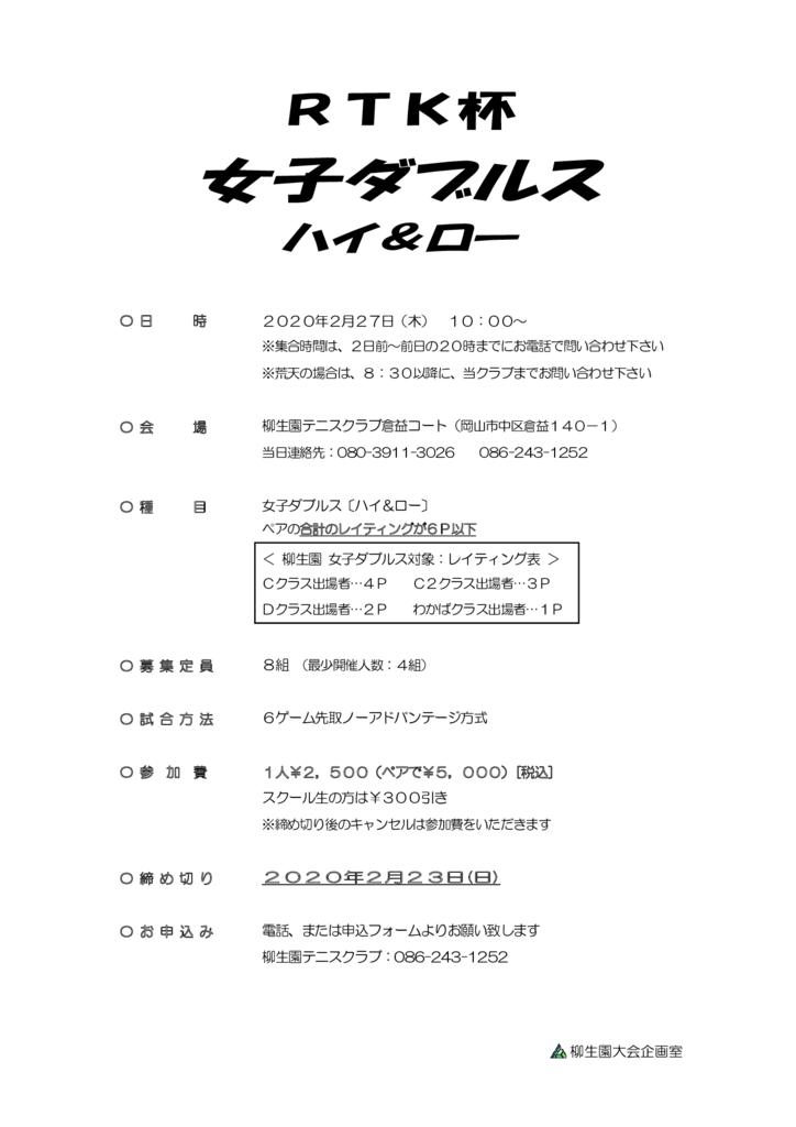 RTK杯 女子ダブルス〈ハイ&ロー〉 @ 柳生園テニスクラブ【倉益校】