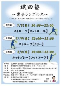男子シングルス練習会 織田塾!【ラリー】 @ 柳生園テニスクラブ【本校】