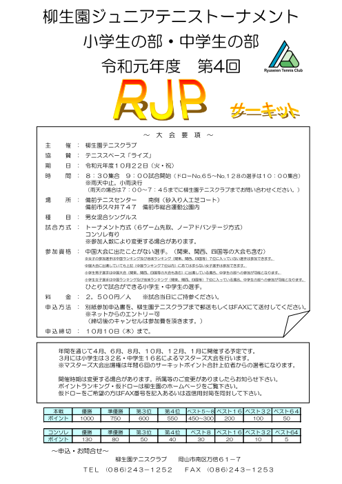 2019年度 第4回 RJPサーキット @ 備前テニスセンター